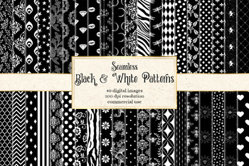 Black and White Patterns 2 - seamless digital paper patterns