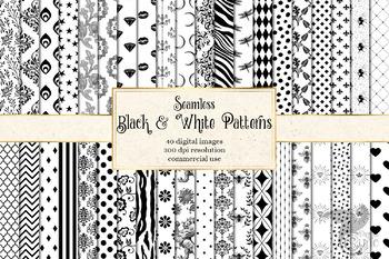 Black and White Patterns - 40 seamless patterns
