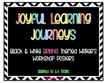 Black and White Patterns with Brights Writing Process Posters