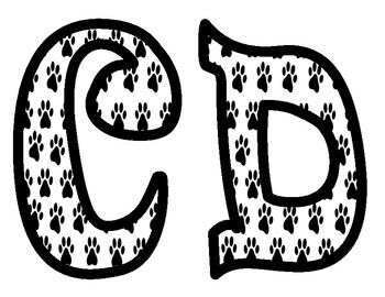 Black and White Paw Print Bulletin Board Letters