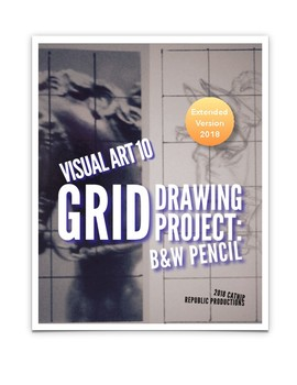 Black & White Pencil Grid Drawing Project