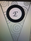 Black and White Pennant Welcome Banner with Black Swirls