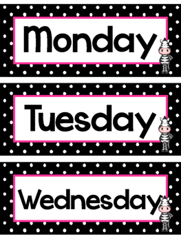 Black and White and Pink Zebras Days of the Week Labels.