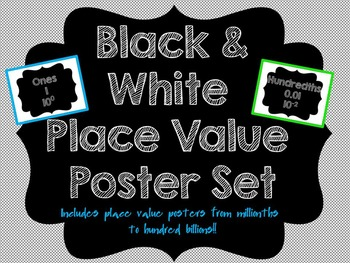 Black and White Place Value Posters