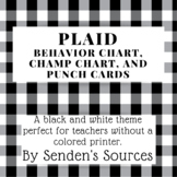 Black and White Plaid Behavior Chart, Punch Cards, and CHAMP Chart