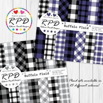 Black and White Plaid Checks Digital Paper Set/ Backgrounds