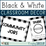 Black and White Plaid Classroom Decor Theme Bundle