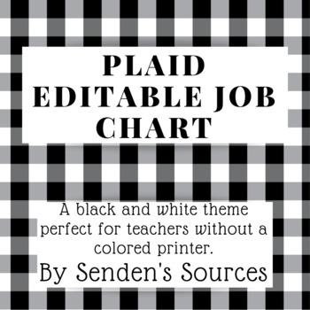 Black and White Plaid Editable Job Chart