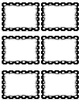 Black and White Polk-a-dot Name Tags #2