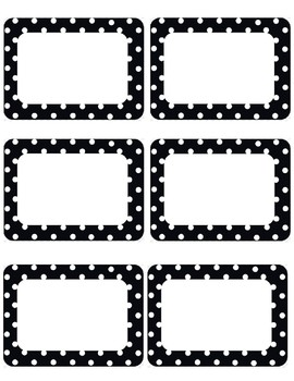 Black And White Polk A Dot Name Tags