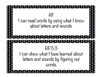 "Black and White Polka Dot 3rd grade ""I Can"" ELA and Math CCSS Posters"