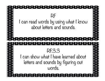 "Black and White Polka Dot 3rd grade ""I Can"" ELA and Math C"