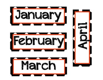 Black and White Polka Dot Birthday Sign + Months