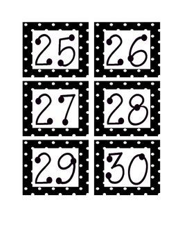 Black and White Polka Dot Calendar Numbers