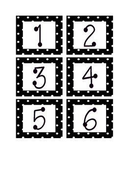 Black and White Polka Dot Calendar Numbers