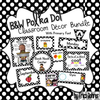 Black and white polka dot classroom decor by erica bohrer for Black and white polka dot decorations