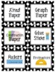 Black and White Polka Dot Classroom Supplies Labels (72+ Labels)