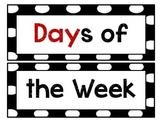 Black and White Polka Dot Days of the Week
