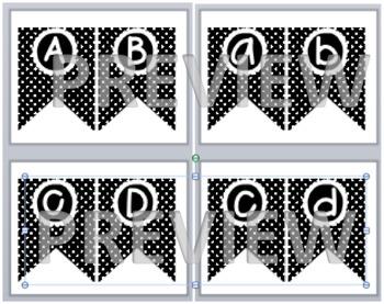 Black and White Polka Dot Flag Letters - Lowercase and Uppercase full set