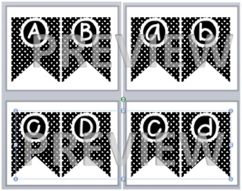 Black and White Polka Dot Flag Letters - Lowercase and Upp