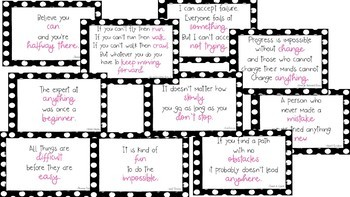 Black and White Polka Dot Growth Mindset Posters