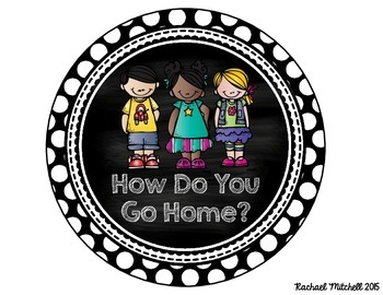 """Black and White Polka Dot """"How Do You Get Home?"""" Clip Chart"""