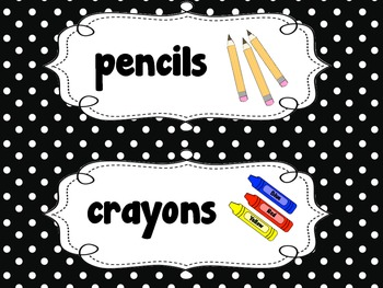 Black and White Classroom Labels {Polka Dot}