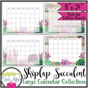 "Shiplap Succulent Large Bulletin Board Wall Calendar Bulletin Board Set! 18""x24"""