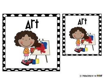Black and White Polka Dot Literacy Stations