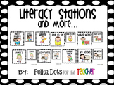 Black and White Polka Dot Literacy Stations