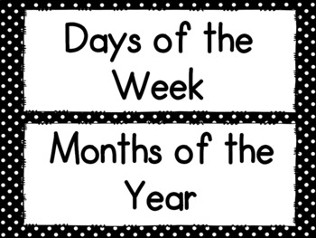 Black and White Polka Dot Monthly Headers
