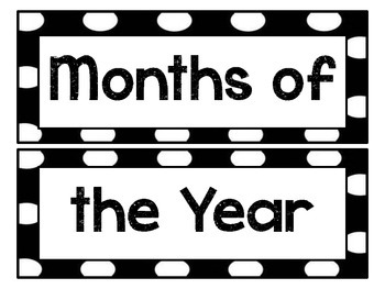 Black and White Polka Dot Months of the Year