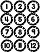 Black & White Dot Number Circles Calendar, Back to School, August, Mailboxes