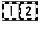 Black and White Polka Dot Number Line 1-100