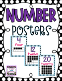 Black and White Polka Dot Number & Number Word Posters with Pink and Purple