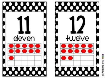 Black and White Polka Dot Number Posters 0-20