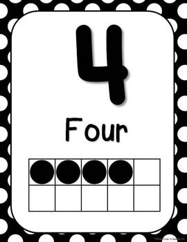 Black and White Polka Dot Number Signs 0-20