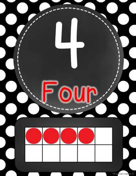 Chalkboard Flair Black and White Polka Dot Number Word Signs 0-20