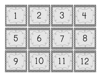 Black and White Polka Dot Number Squares