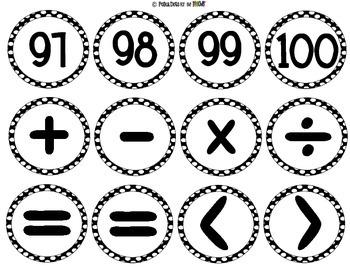 Black and White Polka Dot Numbers