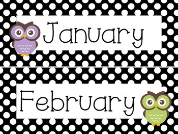 Black and White Polka Dot Owl Calendar Headers