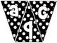 Pennant Bulletin Board Letters -Black and White Polka Dot