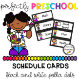 Black and White Polka Dot Schedule Cards