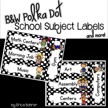 Black and White Polka Dot School Subject Labels