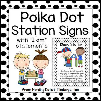 Black and White Polka Dot Station Signs