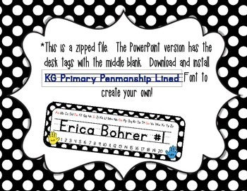 Black and White Polka Dot Student Name Tags {Type your students's names}