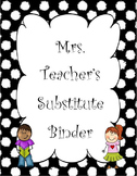 Black and White Polka Dot Substitute Binder
