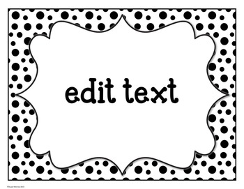 Classroom Supply Labels: Black and White Polka Dot Editable Supply Labels