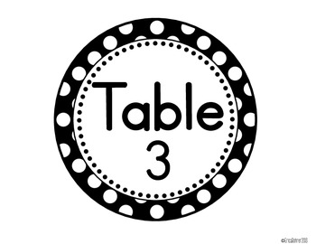 Black and White Polka Dot Table Signs (1-10)