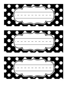 Black and White Polka Dot Table Tags